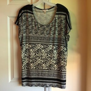 Black and white striped and floral design tee